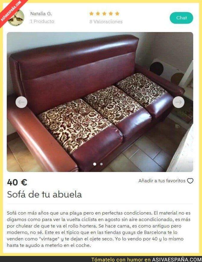 89551 - El divertido anuncio de este sofá antiguo que lo está petando en Wallapop