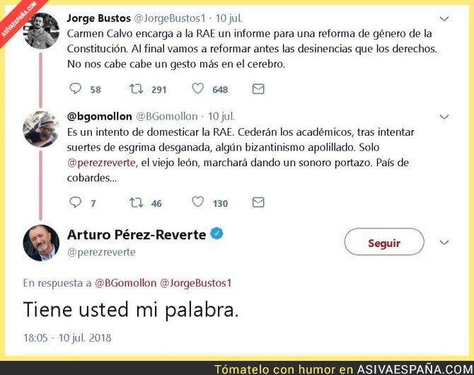 89569 - Arturo Pérez-Reverte se marchará de la RAE si reforman el género del lenguaje