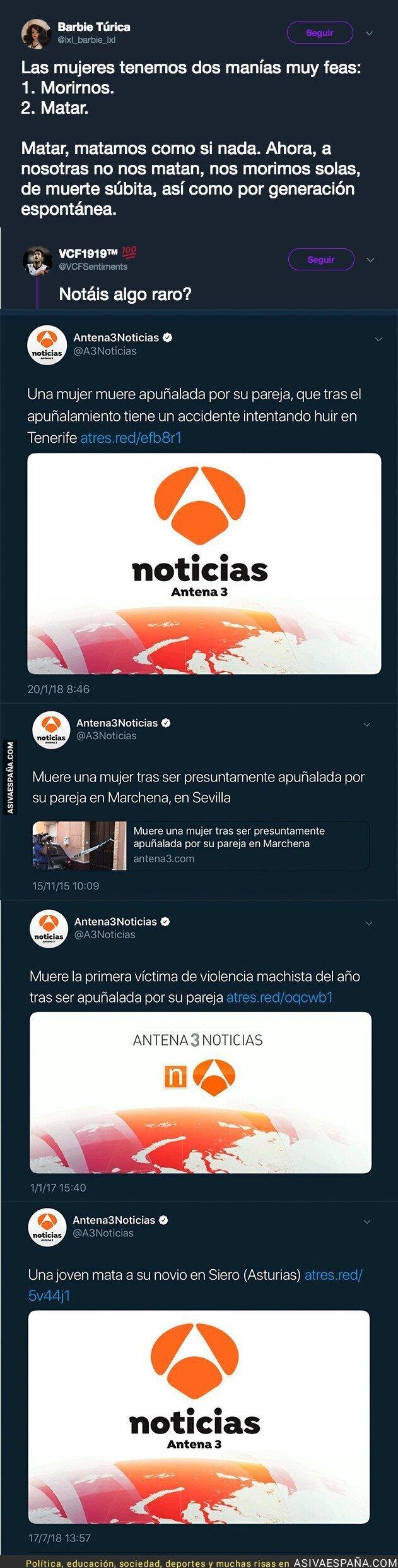 89812 - La gran diferencia de titulares en Antena 3 cuando una mujer es asesinada por un hombre y cuando un hombre asesina a una mujer
