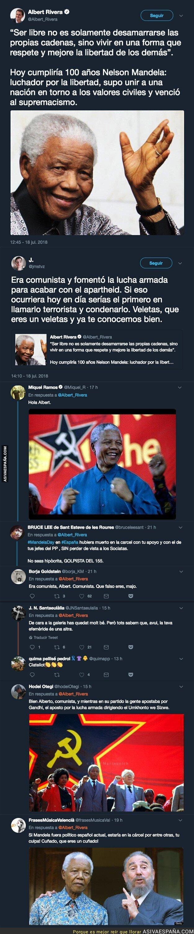 89824 - Albert Rivera se acuerda de Nelson Mandela en su 100 aniversario y recibe h*stias por todas partes