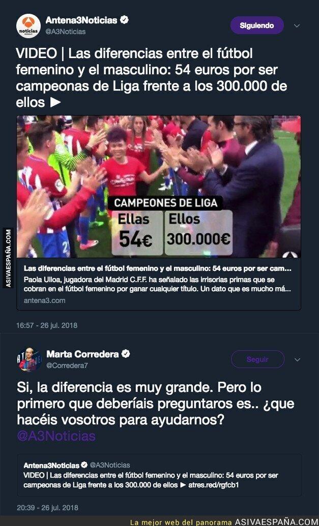 90135 - Antena 3 informa sobre la diferencia que se gana en el fútbol masculino y femenino y esta jugadora del Levante les deja KO con una gran respuesta