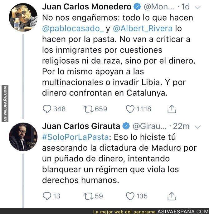 90403 - La gran respuesta de Juan Carlos Girauta a Juan Carlos Monedero tras una grave acusación