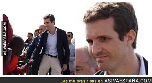 90489 - La cara de Pablo Casado al saludar a inmigrantes