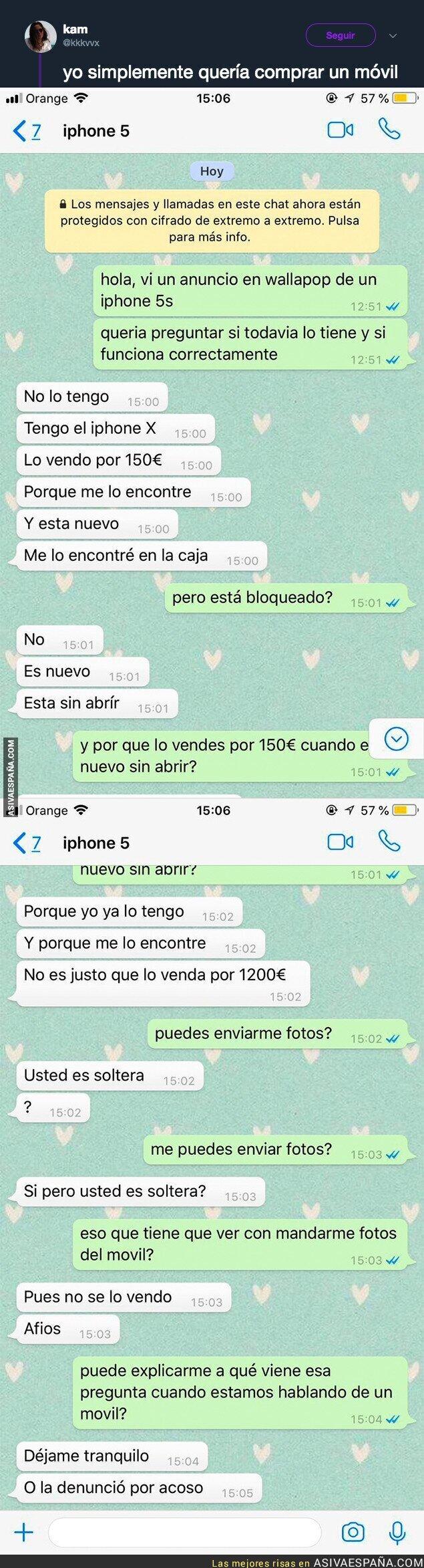 90617 - La sorprendente respuesta que recibió una chica al querer comprar un móvil por Wallapop