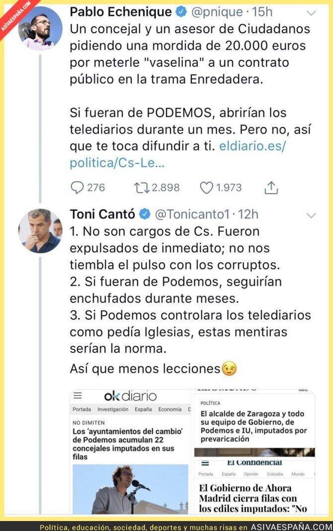 90725 - Toni Cantó le da un revés a Pablo Echenique con casos de dudosa legalidad en política