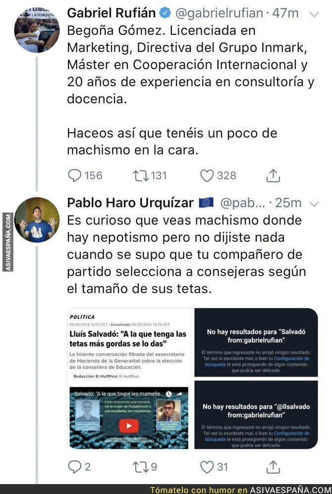 90824 - El doble rasero de Gabriel Rufián a la hora de criticar el machismo de un compañero de su propio partido
