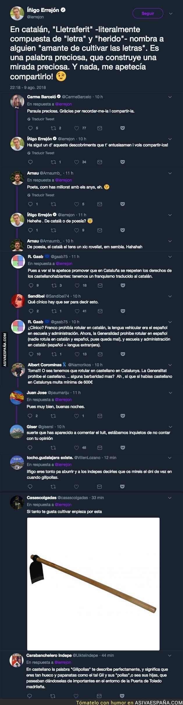 90855 - Íñigo Errejón tuitea -y explica- una palabra en catalán y no tardan en salir los indignados