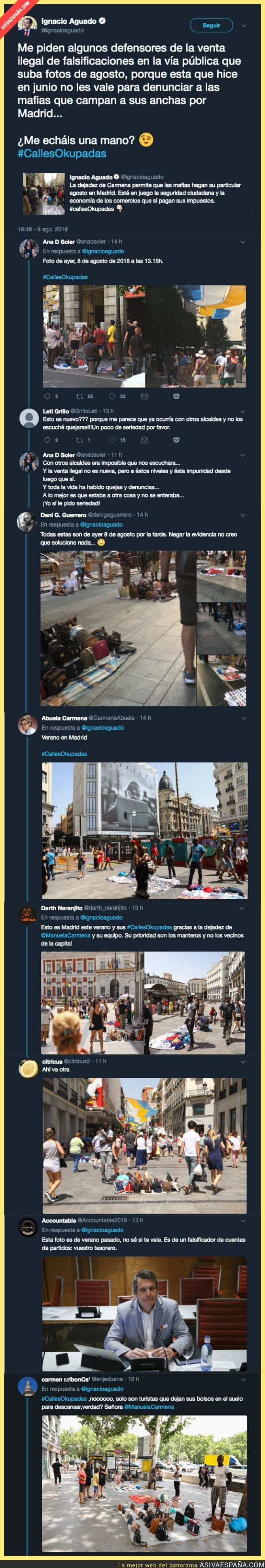 90881 - Ignacio Aguado pide ayuda a la gente tras manipular con fotos de cuando hacía frío para que le mande fotos de manteros en verano
