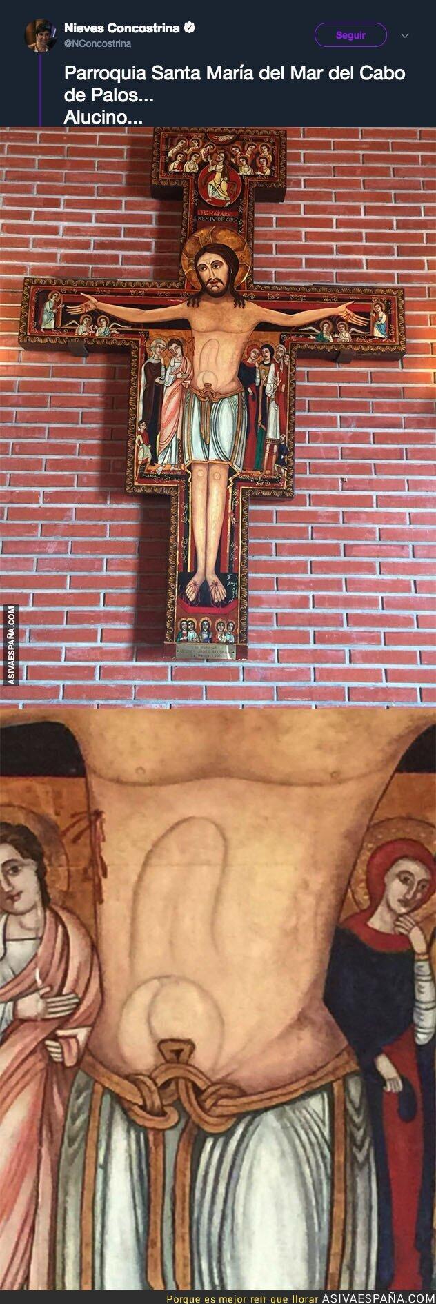 90900 - El detalle de los abdominales de este Cristo en la iglesia del Cabo de Palos que está indignando a mucha gente