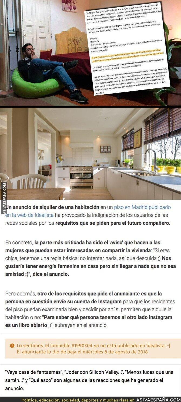 90953 - Gran polémica por este anuncio en 'Idealista' buscando compañera de piso compartido con estos requisitos