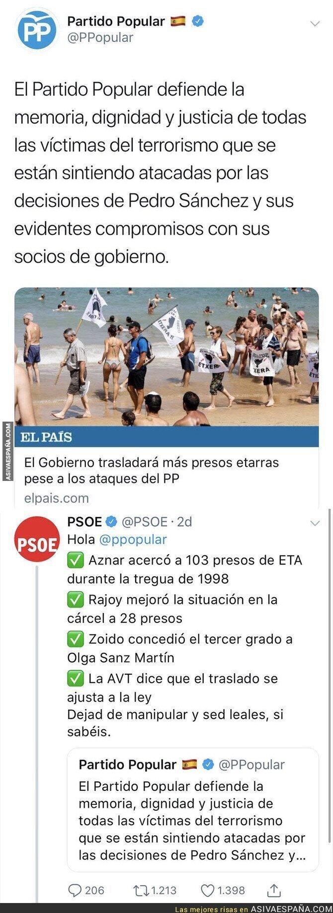 91132 - Carrusel de zascas del PSOE al Partido Popular por las víctimas del terrorismo