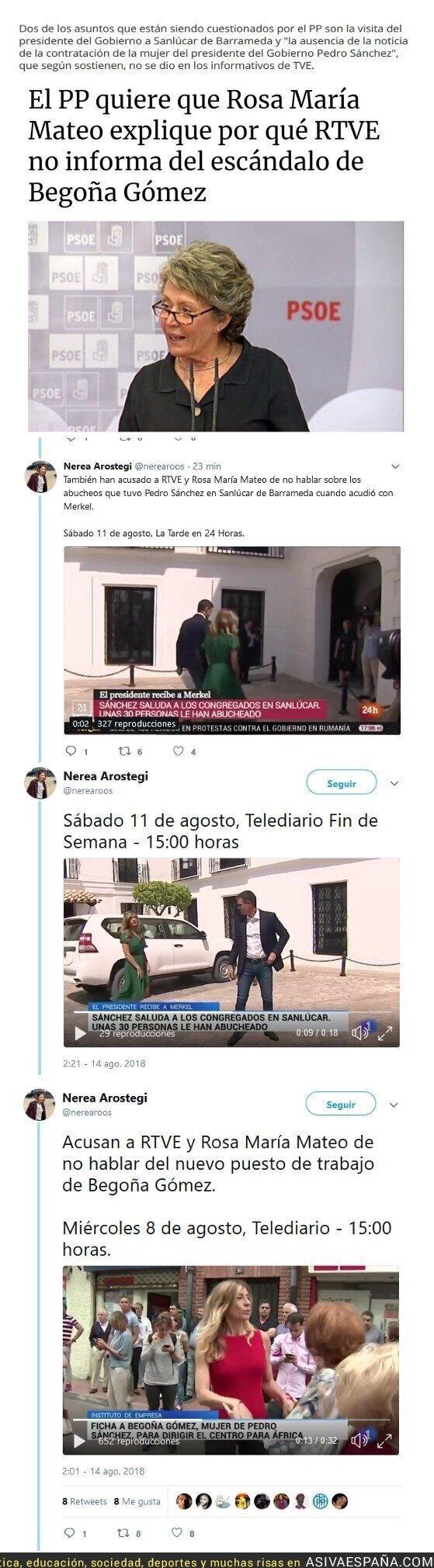 91141 - El PP acusa a RTVE de no informar sobre los abucheos a Sáncez ni la contratacíon de Begoña Gómez.