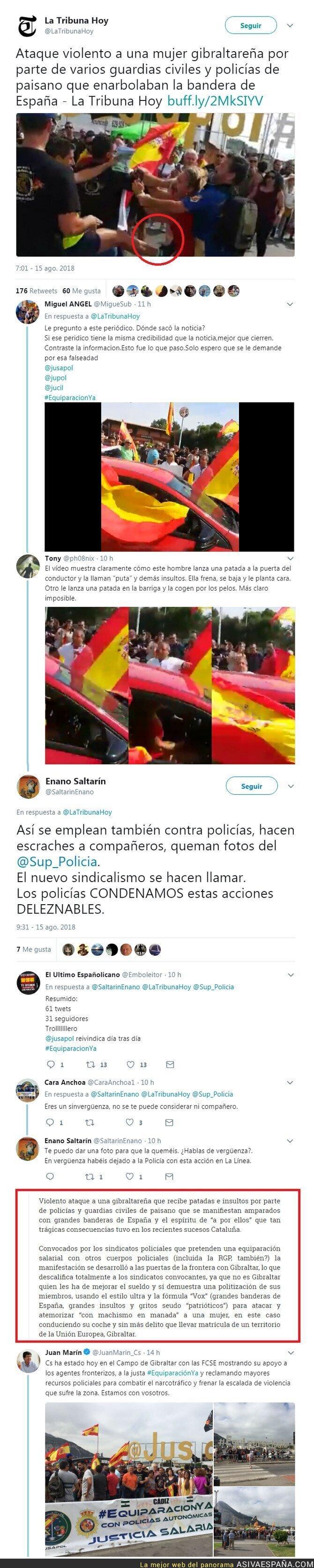 91199 - Insultan y agreden a una mujer gibraltareña aquellos que deben hacer respetar la ley