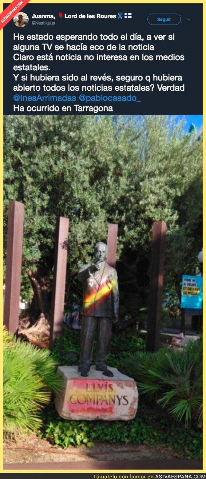 91246 - Vandalismo a la estatua de Lluis Companys que las TV de España no te informarán nunca