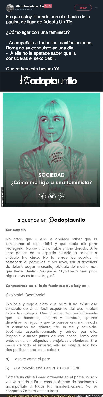 91284 - El polémico texto de la web 'adoptauntio' para ligar con feministas