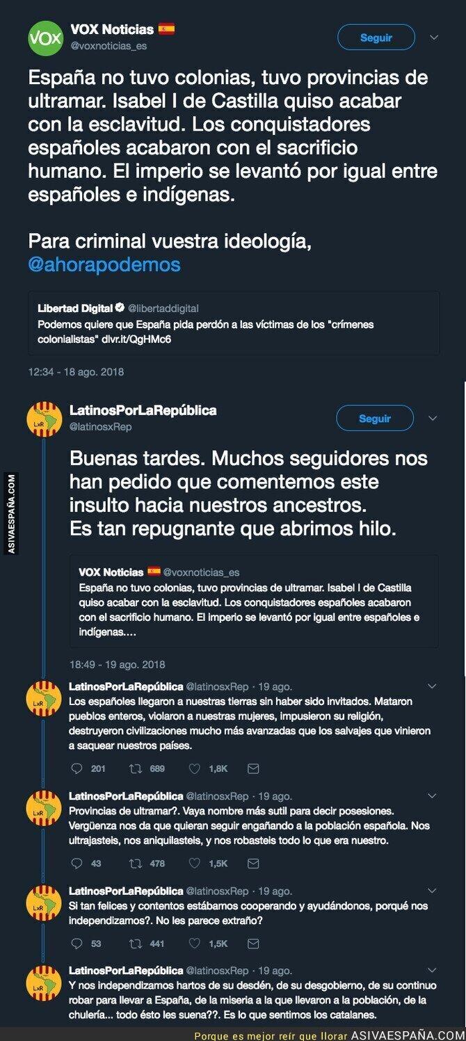 91480 - El polémico mensaje de VOX que niega invasión de españoles pero les llama 'conquistadores'