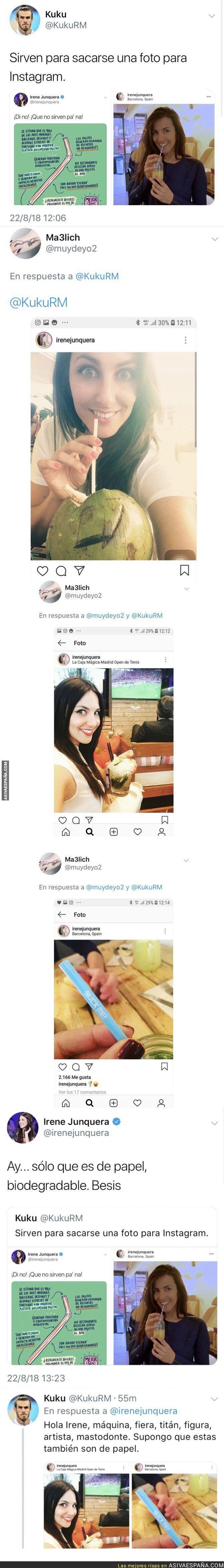 91591 - Un tuitero deja en ridículo a Irene Junquera al posar con pajitas en Instagram, ella contesta y queda aún peor