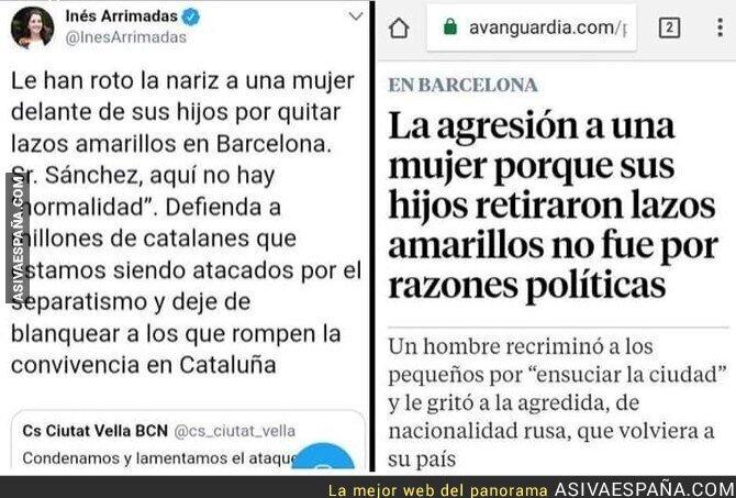91800 - Inés Arrimadas manipulando y creando odio hacia una parte de catalanes. Menos mal que ella quiere lo mejor para su comunidad