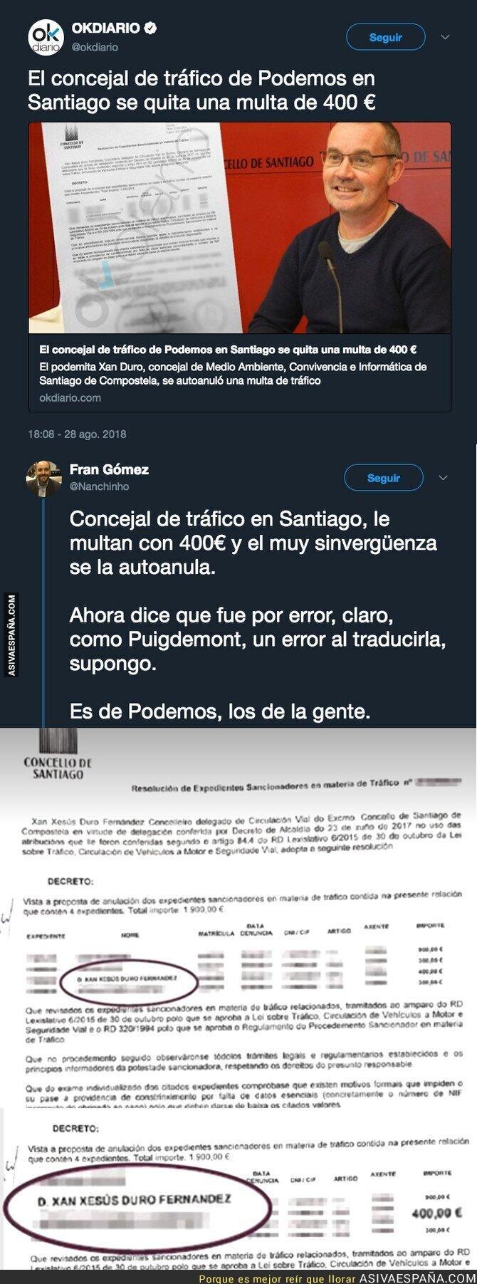 91951 - El documento que acredita que un concejal de Podemos en Santiago se ha quitado una multa de 400€