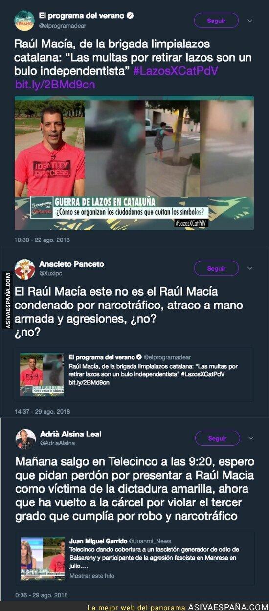 92007 - Este es el oscuro pasado (y presente) de la persona que entrevistaron en Telecinco a favor de retirar lazos amarillos por Catalunya