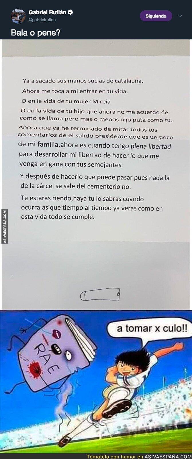 92104 - La carta que amenaza de muerte a Gabriel Rufián que ha recibido y compartido en redes sociales