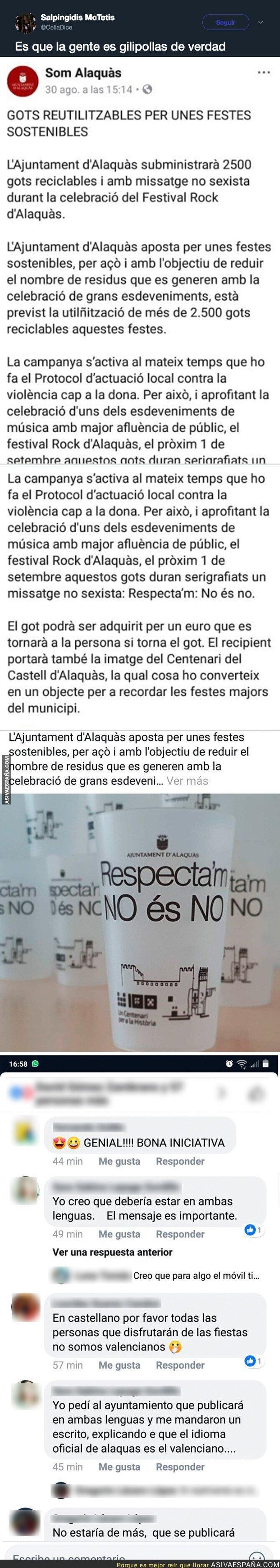 92149 - La catalonofobia que hay en Alaquàs (Valencia) porque en las fiestas en  un vaso pone