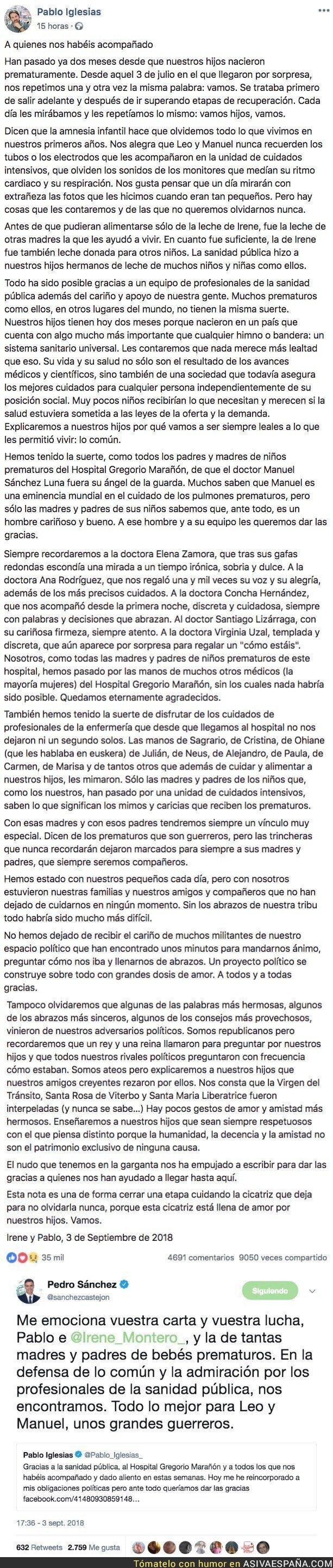 92311 - Pedro Sánchez elogia y homenajea así a Pablo Iglesias tras su agradecimiento en redes a la Sanidad Pública