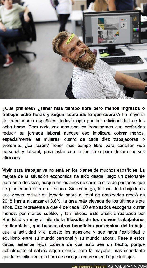92329 - Cada vez hay más españoles que prefieren trabajar menos horas y cobrar menos para tener tiempo libre