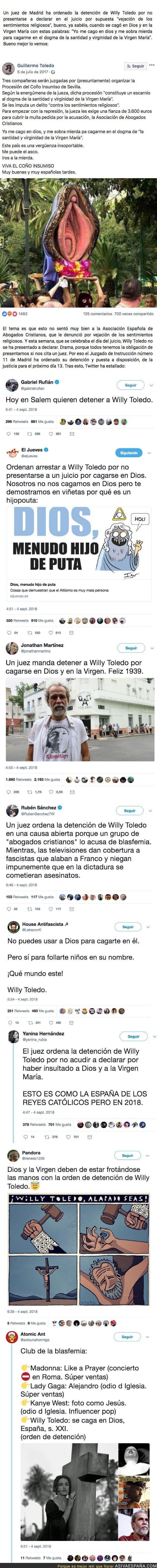 92353 - Un juez ordena la detención del actor Willy Toledo y Twitter arde
