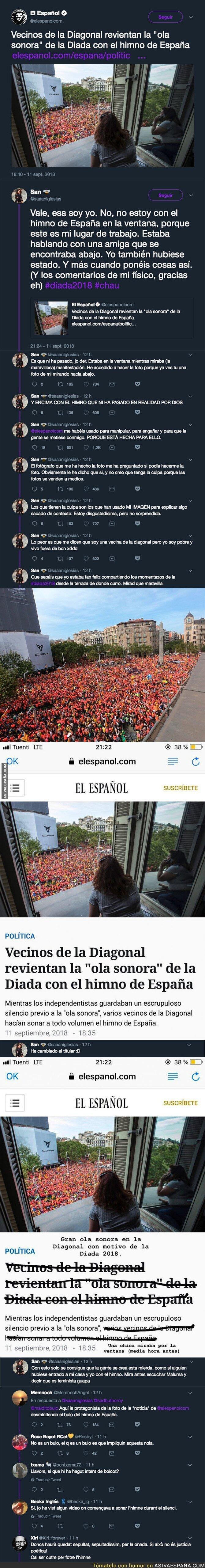 92976 - Pillan a 'El Español' manipulando descaradamente sobre una chica implicándola en poner el himno de España durante el minuto de silencio de La Diada