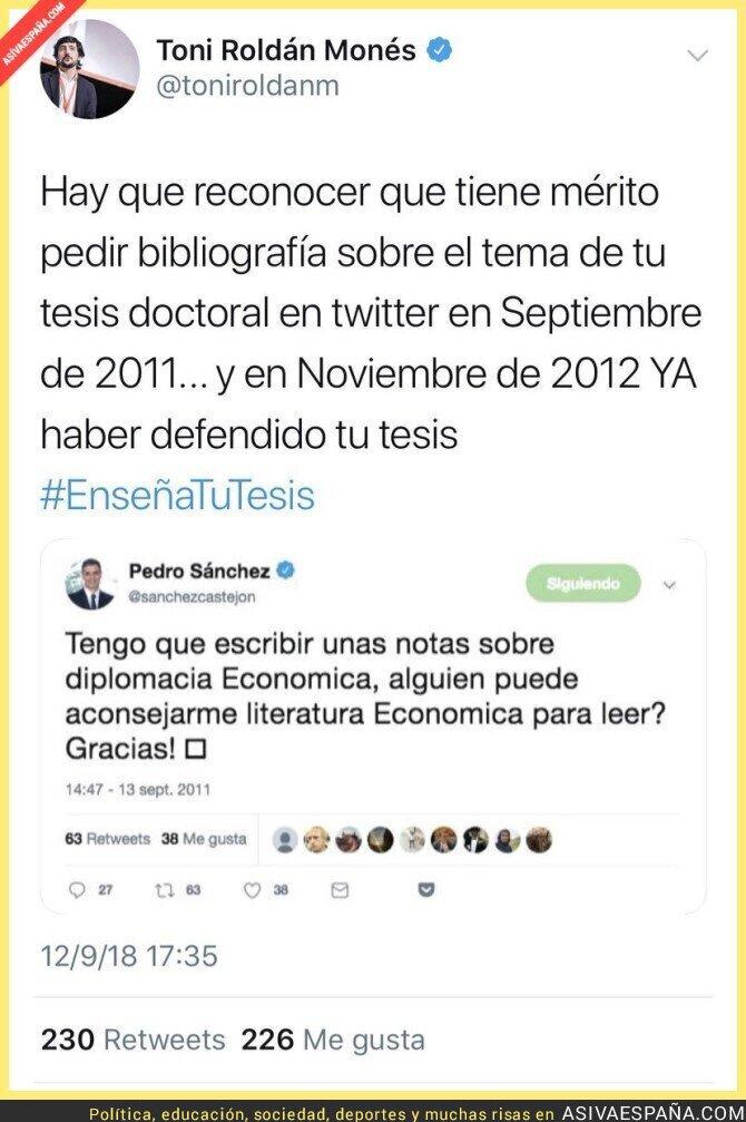 93018 - Pedro Sánchez pidiendo ayuda para su tesis en 2011... ¡En Twitter!