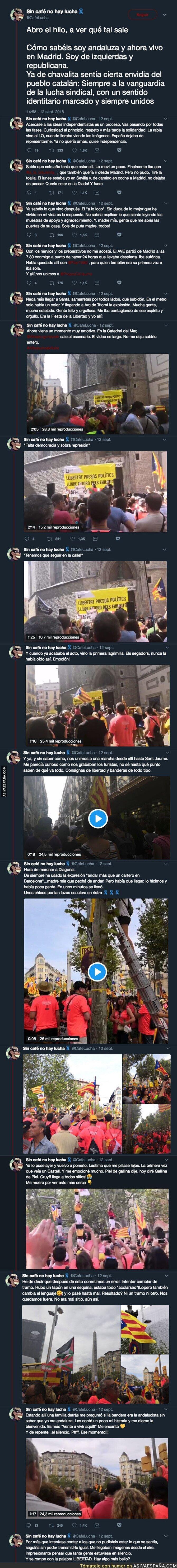 93121 - La emotiva historia de una andaluza viviendo la diada de Catalunya por primera vez