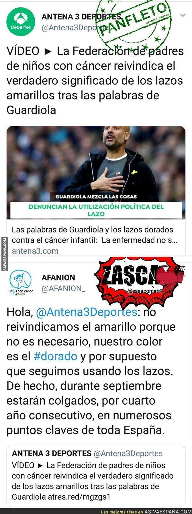 93161 - Antena 3 usa a los niños con cáncer para atizar a Pep Guardiola y una asociación les calla la boca