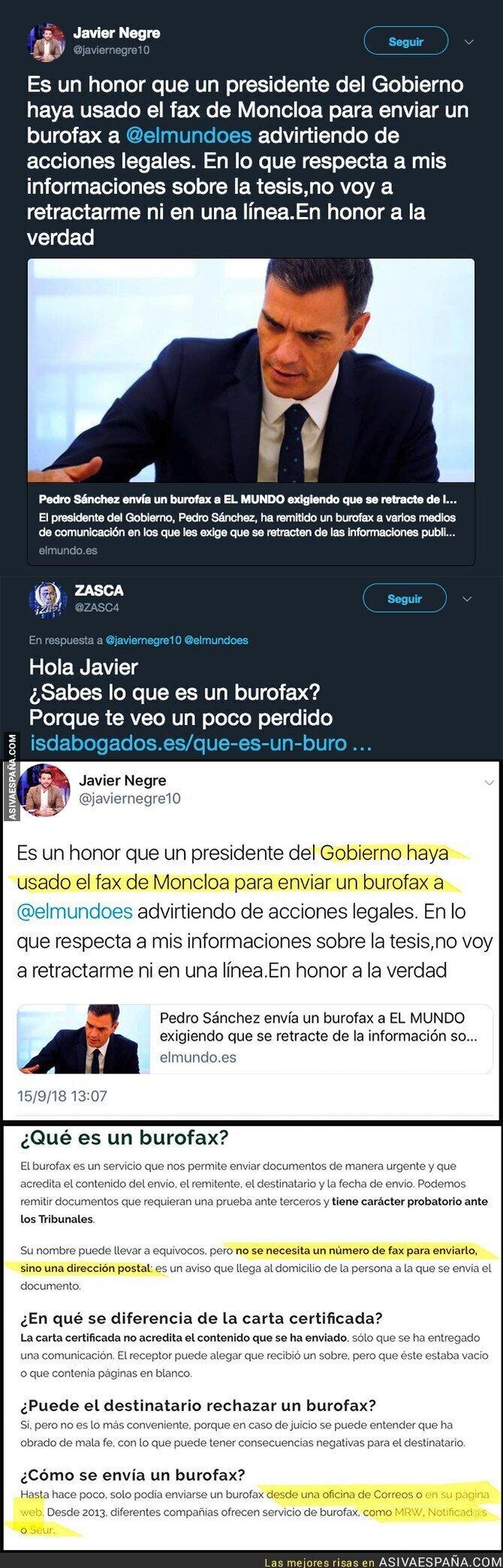 93247 - El periodista Javier Negre intenta ir dando lecciones a Pedro Sánchez y no sabe ni los conceptos básicos