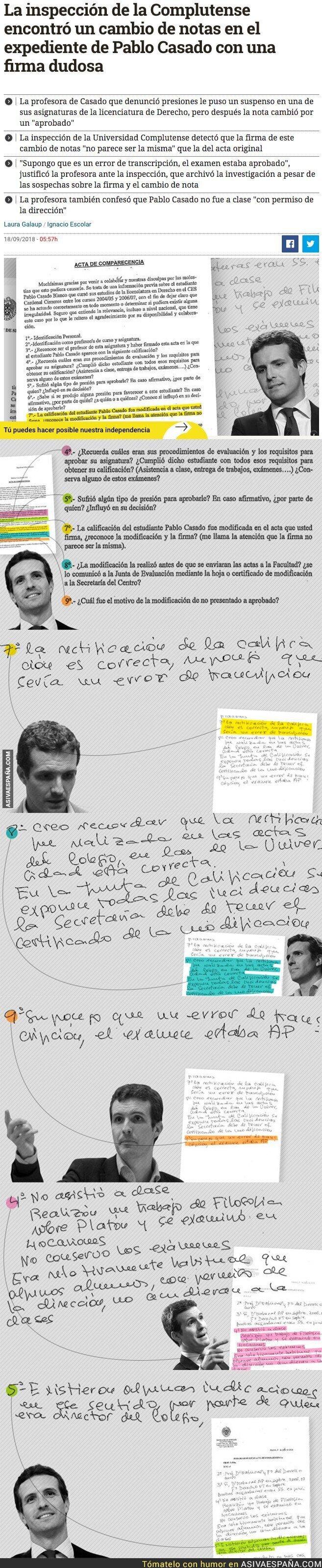 93276 - Encuentran un cambio de notas en el expediente de Pablo Casado