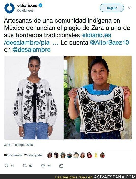 93431 - Han pillado a Zara plagiando a un grupo de artesanas indígenas de México con una camiseta exactamente igual