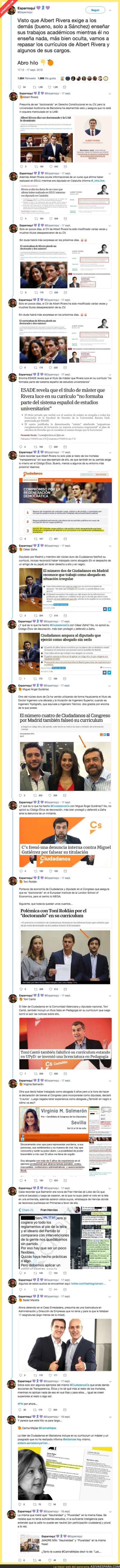 93487 - Albert Rivera tiene mucho que callar: tuitero recopila todas las mentiras de los CVs de Ciudadanos