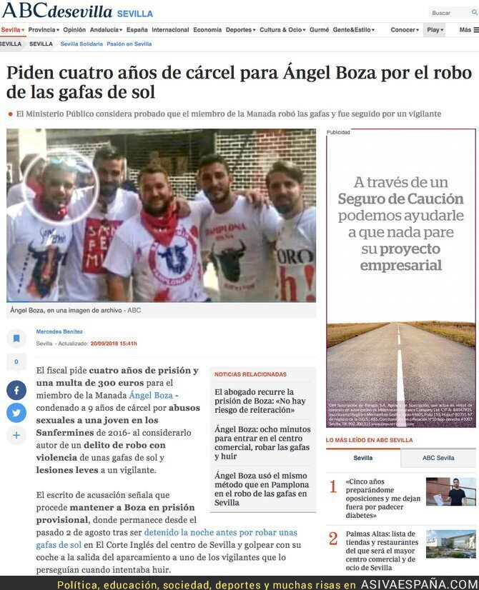 93518 - Piden 4 años de cárcel para el miembro de La Manada que robó las gafas de sol