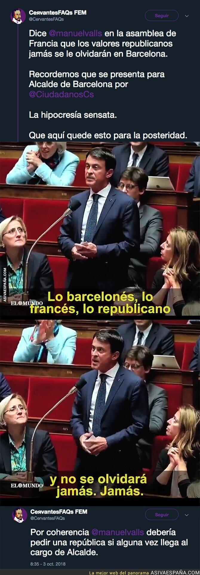 94142 - La coherencia de Manuel Valls le ha hecho llegar hasta Ciudadanos