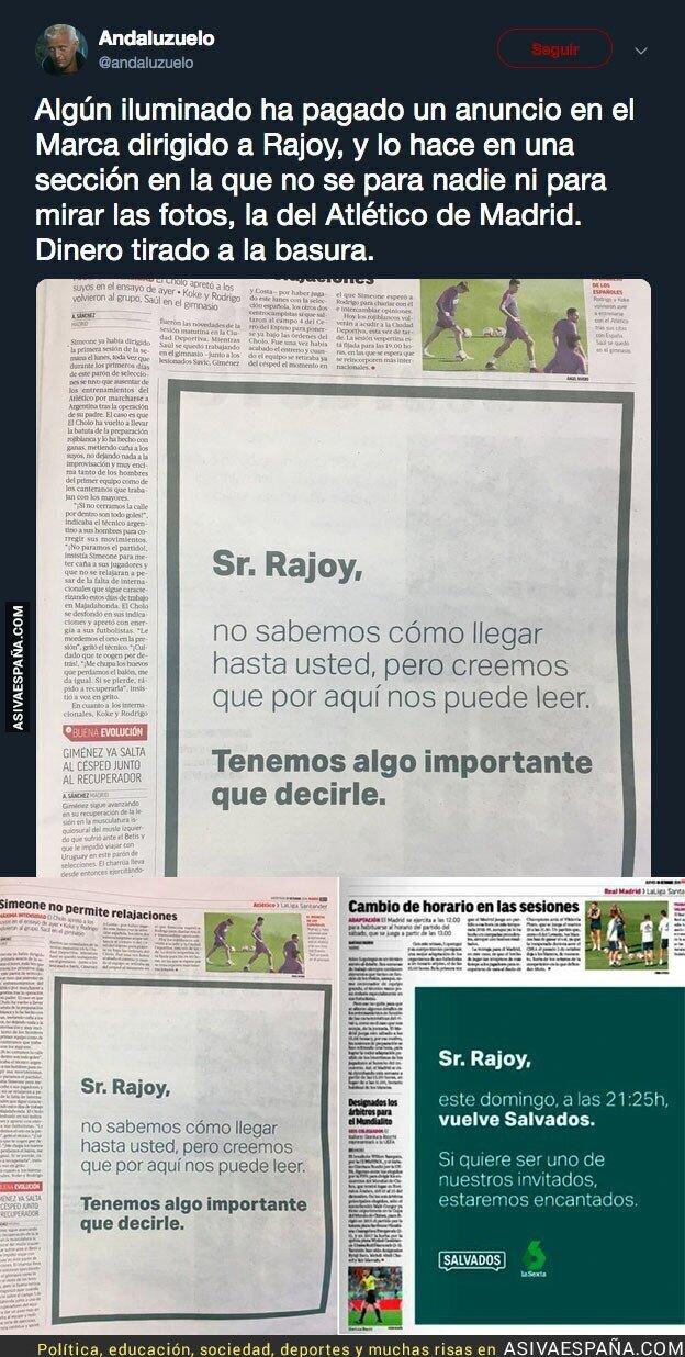 95318 - Ya se conoce el autor del misterioso mensaje dirigido a Rajoy en el diario MARCA