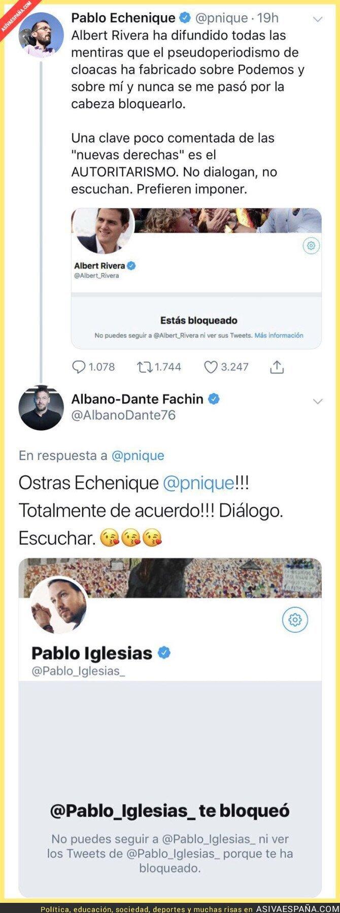 95789 - Pablo Echenique llora en Twitter porque Albert Rivera le ha bloqueado y le recuerdan que Pablo Iglesias también hace esas prácticas