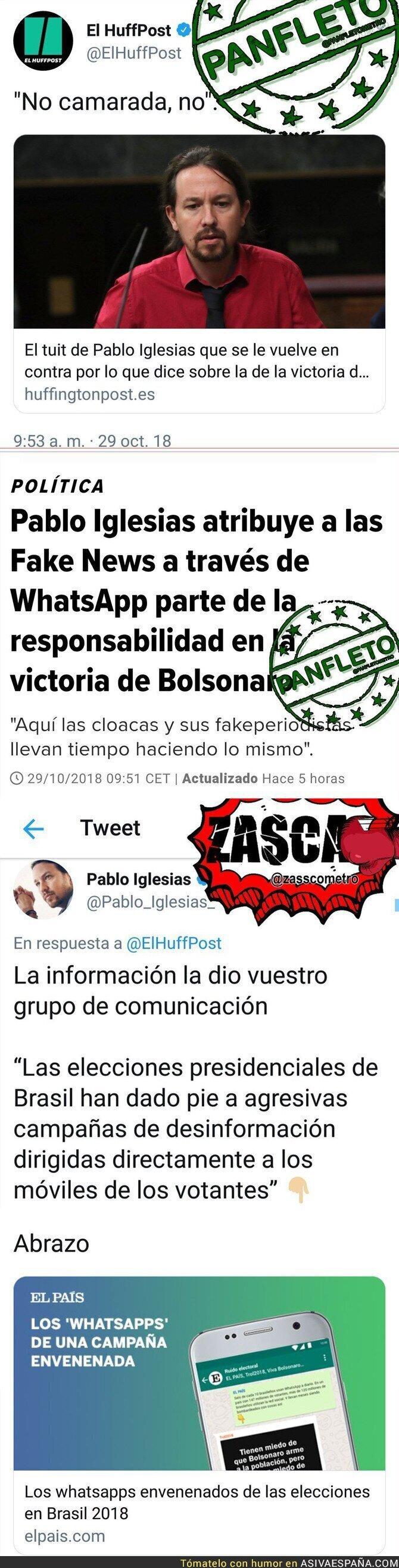 96475 - Pablo Iglesias le pega un revés a 'El HuffPost' con una noticia sobre las fake news