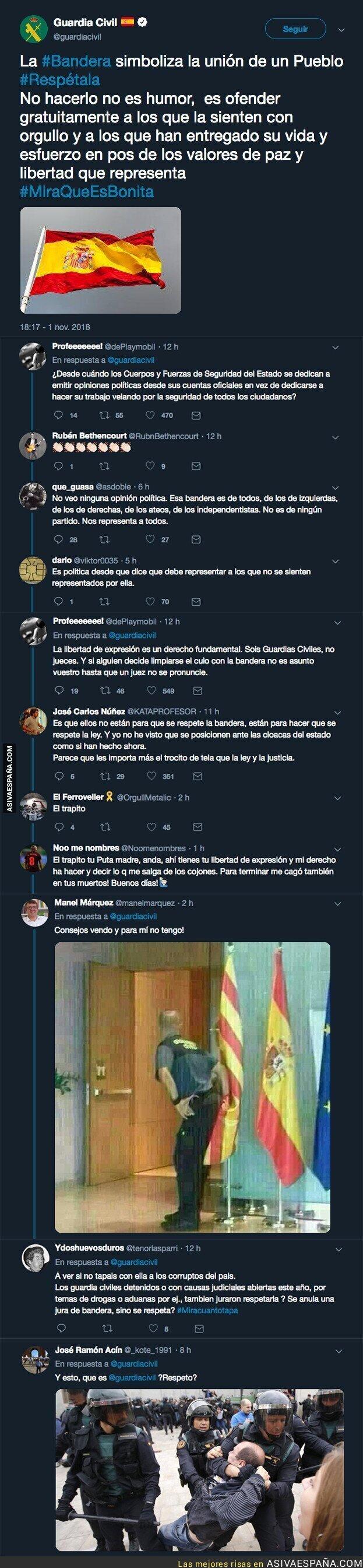 96736 - La Guardia Civil pide 'respetar' la bandera de España con este tuit y la gente no tarda en responder con dureza