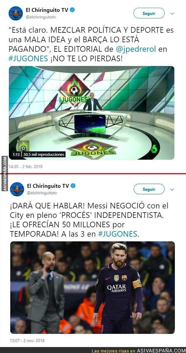 96806 - Pedrerol vuelve a quedar retratado al mezclar fútbol con política tras criticar al Barça por hacerlo