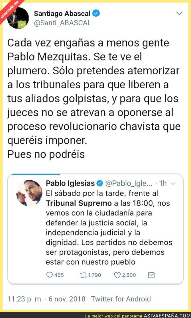 97282 - Santiago Abascal responde a Pablo Iglesias