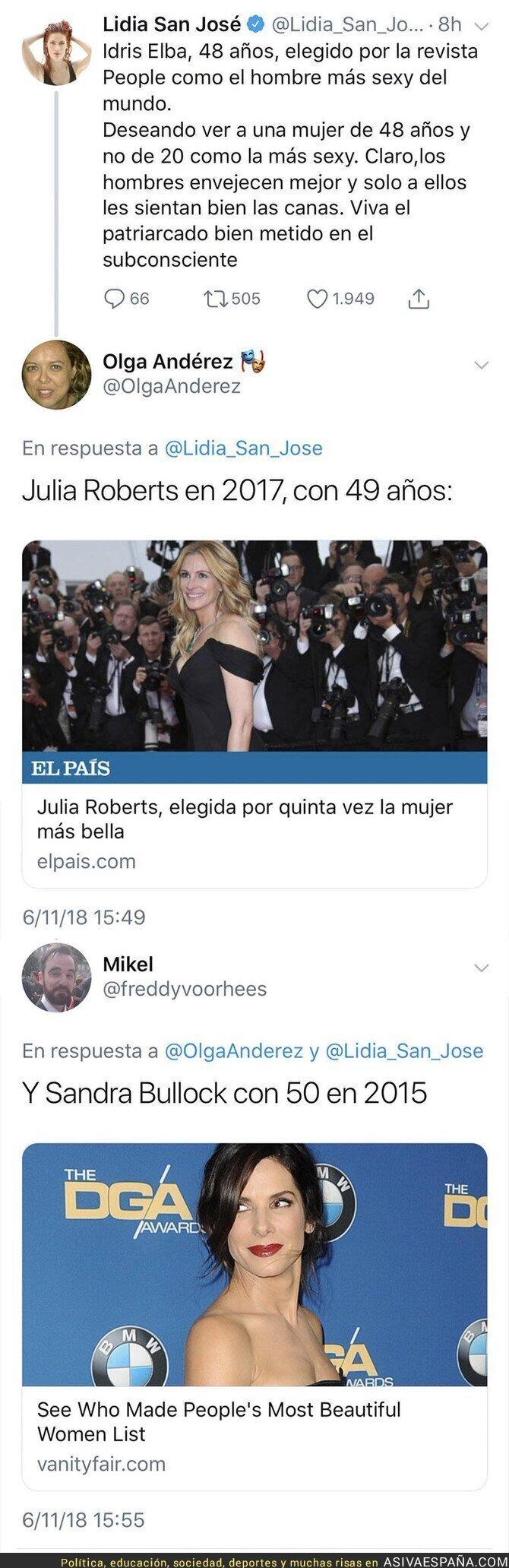 97312 - La actriz Lidia San José se escandaliza por la elección del hombre más sexy del mundo por su edad y hace una comparativa con mujeres