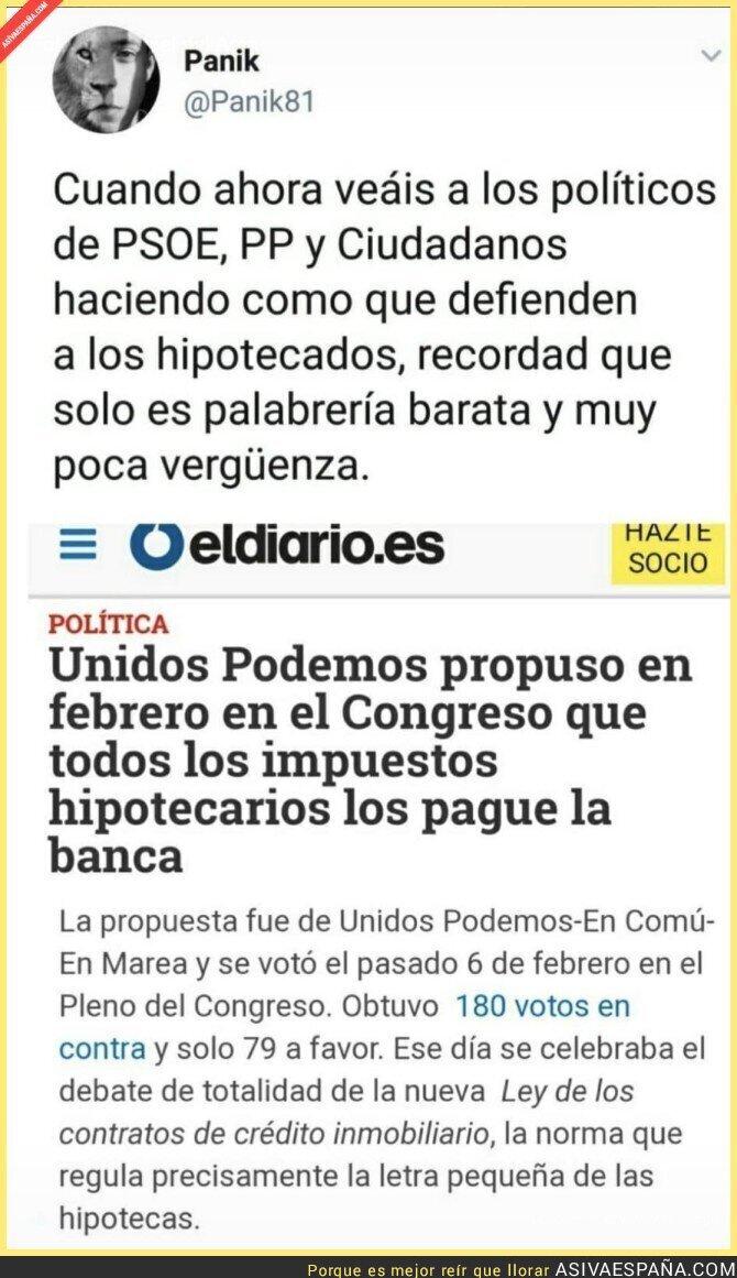 97343 - La derecha sigue con las Fake News acusando a Podemos de subir a los clientes los impuestos hipotecarios...