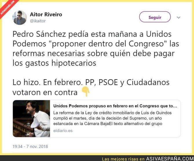 97345 - Vaya hombre, Pedro Sanchez colgándose la medalla de lo que ya intentó Podemos hace meses y que rechazó