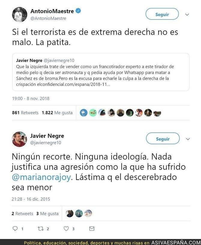 97502 - Javier Negre blanqueando al francotirador de Terrasa vs su indignación cuando hostiaron a Rajoy