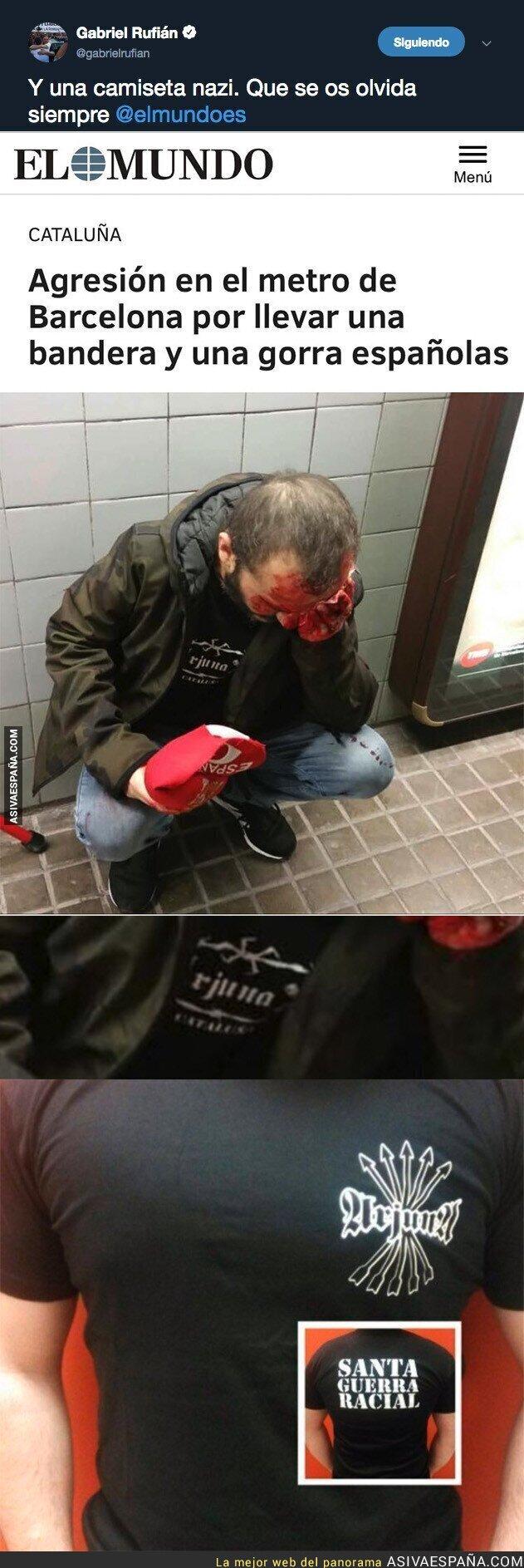 97786 - Esta es la camiseta que tiene el agredido en el metro de Barcelona y que los medios españoles no te enseñan